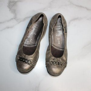 Mephisto Allison Cracked Metallic Leather Flats